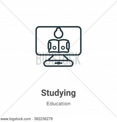 Studying icon isolated on white background from online learning collection. Studying icon trendy and