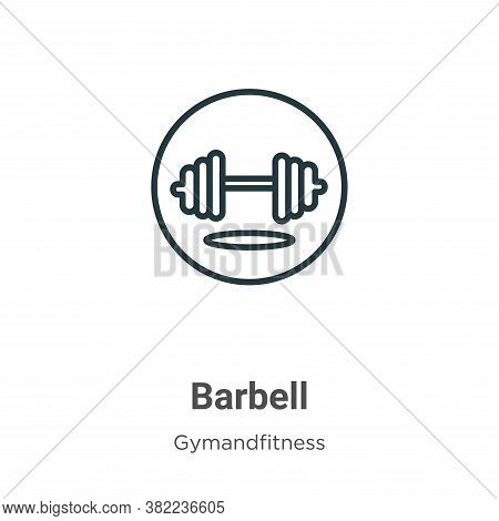 Barbell icon isolated on white background from gym and fitness collection. Barbell icon trendy and m