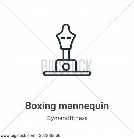 Boxing mannequin icon isolated on white background from gym and fitness collection. Boxing mannequin