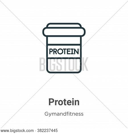 Protein icon isolated on white background from gym and fitness collection. Protein icon trendy and m