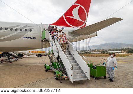 Gazipasha, Antalya Province, Turkey - 09 Aug 2020: Turkish Airlines Passenger Plane Unboards  Passen