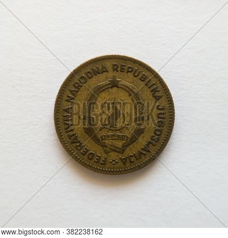 Bosnia And Herzegovina - April 27, 2020: The Back Of The Coin Of Fifty Dinars, The Symbol Of Yud, Th