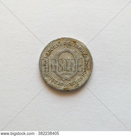 Bosnia And Herzegovina - April 27, 2020: The Back Of The Coin Of One Dinar, The Symbol Of Yud, The C
