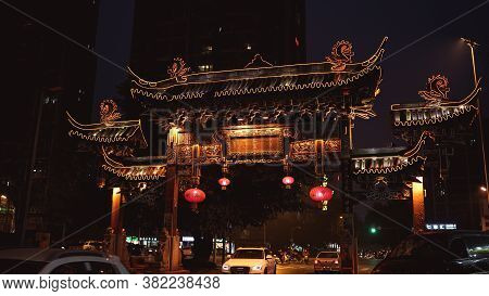 Chengdu, China - January 06, 2017: Ancient Traditional Chinese Arch Gates In Chengdu