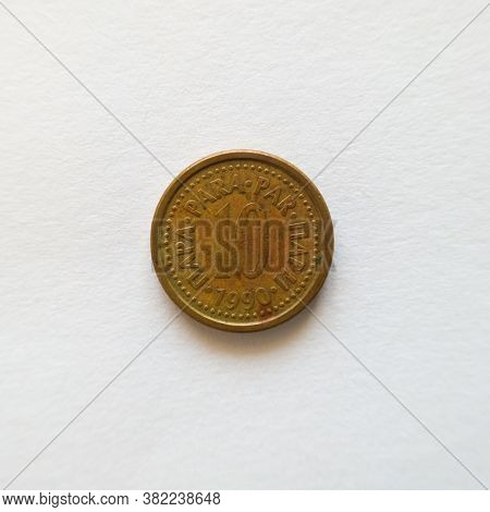 Bosnia And Herzegovina - April 27, 2020: The Front Of The Ten Para Coin, The Dinar Was Divided Into