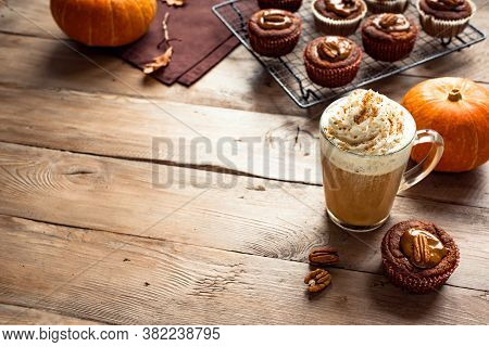 Pumpkin Spice Latte. Seasonal Coffee Drink And Fresh Pumpkin Muffins For Cozy Autumn Breakfast, Copy