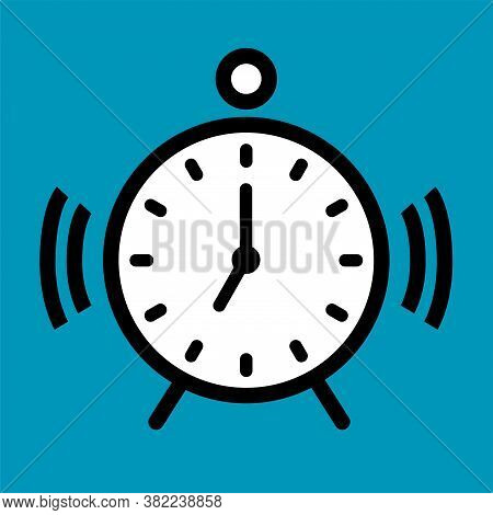 Alarm Clock Icon With Dial And Arrows. Ringtone And Vibration. Vector Outline Illustration.