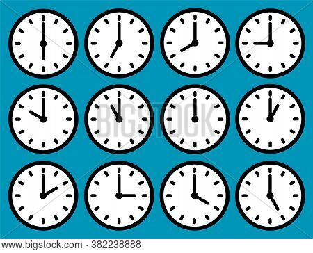 Clock Icons Set With Different Time. Round Dial With Hands. Vector Illustration.