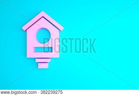 Pink Bird House Icon Isolated On Blue Background. Nesting Box Birdhouse, Homemade Building For Birds