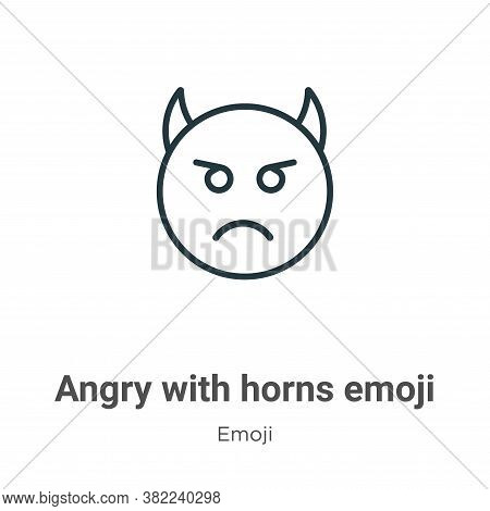 Angry with horns emoji icon isolated on white background from emoji collection. Angry with horns emo