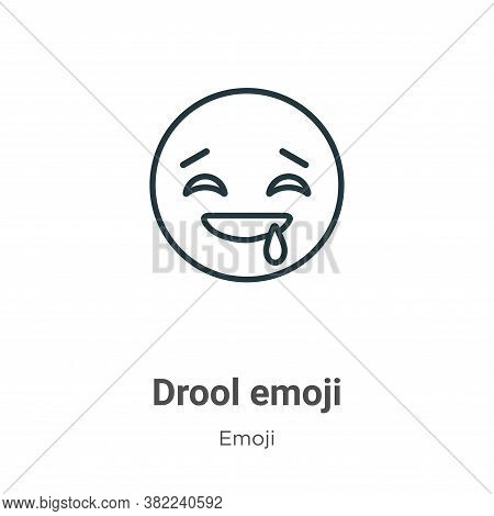 Drool emoji icon isolated on white background from emoji collection. Drool emoji icon trendy and mod
