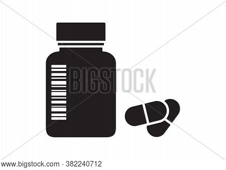 Drugstore. Medicine Bottle And Pills. Medicament. Black And White Capsules. Vector Illustration