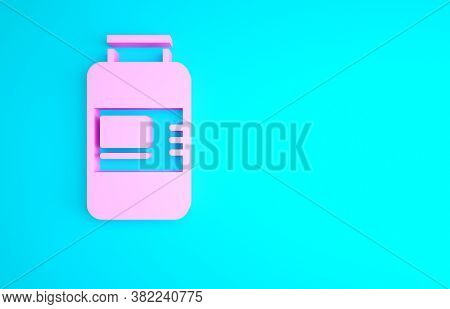Pink Collagen Serum And Vitamin Icon Isolated On Blue Background. Facial Treatment Essence Skin Care