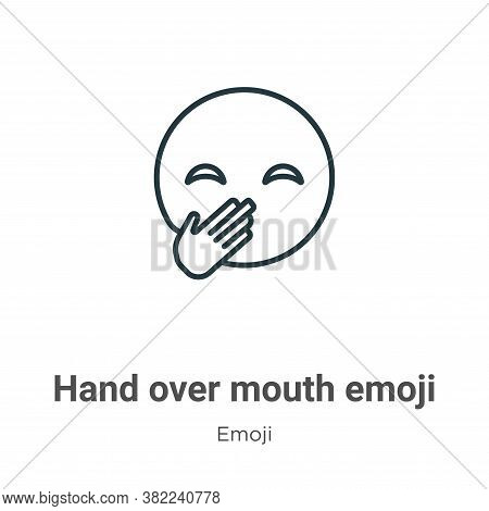 Hand over mouth emoji icon isolated on white background from emoji collection. Hand over mouth emoji
