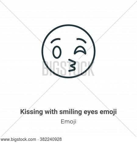 Kissing with smiling eyes emoji icon isolated on white background from emoji collection. Kissing wit