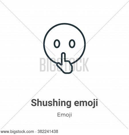 Shushing emoji icon isolated on white background from emoji collection. Shushing emoji icon trendy a