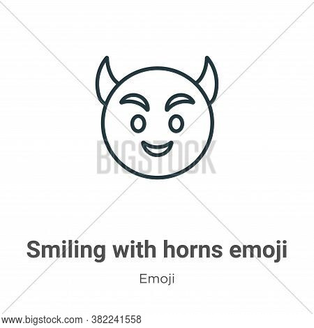 Smiling with horns emoji icon isolated on white background from emoji collection. Smiling with horns