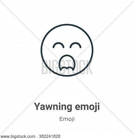 Yawning emoji icon isolated on white background from emoji collection. Yawning emoji icon trendy and