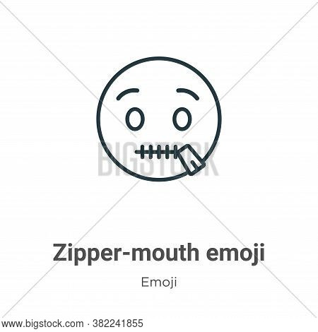 Zipper-mouth emoji icon isolated on white background from emoji collection. Zipper-mouth emoji icon