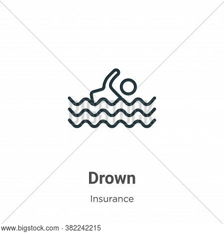 Drown icon isolated on white background from insurance collection. Drown icon trendy and modern Drow