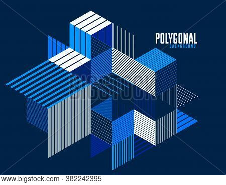 Linear Striped Abstract Vector Dimensional 3D Background With Isolated Retro Style Graphic Element W