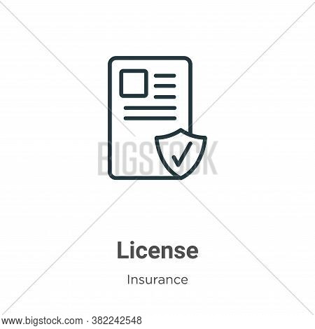 License icon isolated on white background from insurance collection. License icon trendy and modern