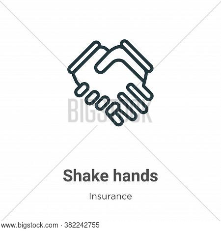 Shake hands icon isolated on white background from insurance collection. Shake hands icon trendy and