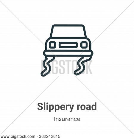 Slippery road icon isolated on white background from insurance collection. Slippery road icon trendy