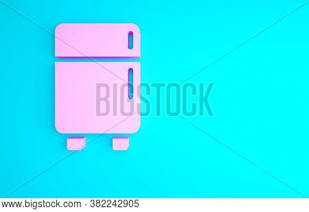 Pink Refrigerator Icon Isolated On Blue Background. Fridge Freezer Refrigerator. Household Tech And