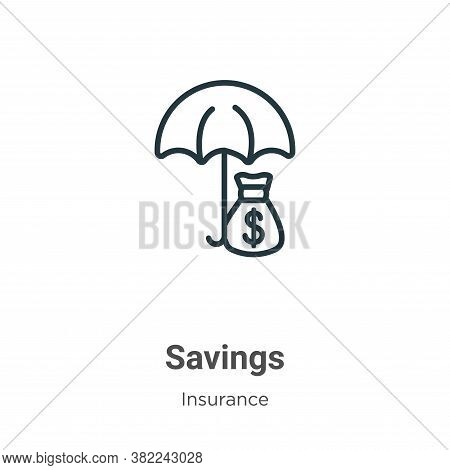 Savings icon isolated on white background from insurance collection. Savings icon trendy and modern