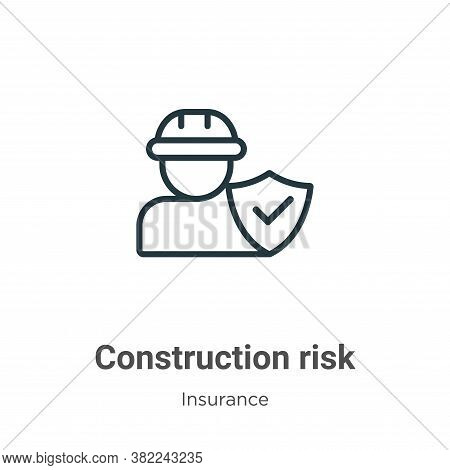 Construction risk icon isolated on white background from insurance collection. Construction risk ico