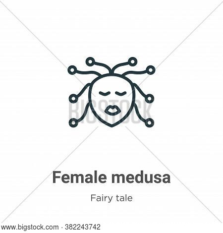Female medusa icon isolated on white background from fairy tale collection. Female medusa icon trend