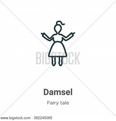 Damsel Icon From Fairy Tale Collection Isolated On White Background.