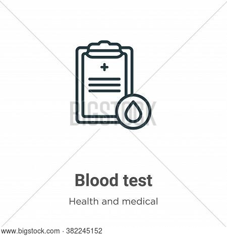 Blood test icon isolated on white background from health and medical collection. Blood test icon tre