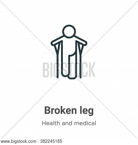 Broken leg icon isolated on white background from health and medical collection. Broken leg icon tre