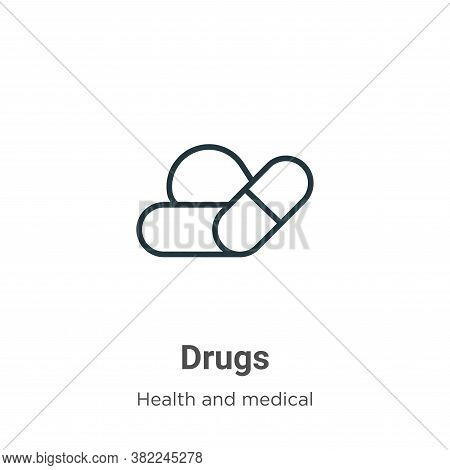 Drugs icon isolated on white background from health and medical collection. Drugs icon trendy and mo