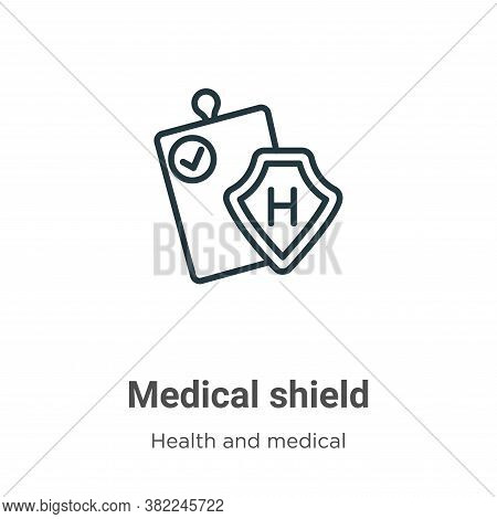 Medical shield icon isolated on white background from health and medical collection. Medical shield