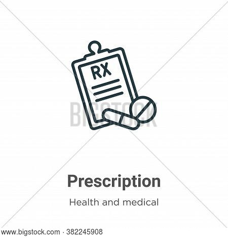Prescription icon isolated on white background from health and medical collection. Prescription icon
