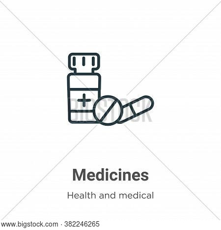 Medicines icon isolated on white background from health and medical collection. Medicines icon trend