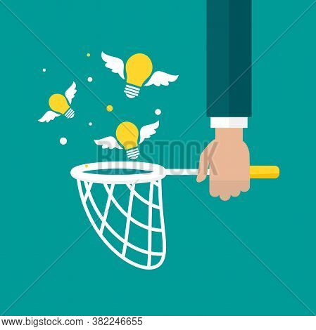 Businessman Hand Holds Butterfly Net With Flying Bulbs. Catch, Hunt, Chase Ideas And Solutions Symbo