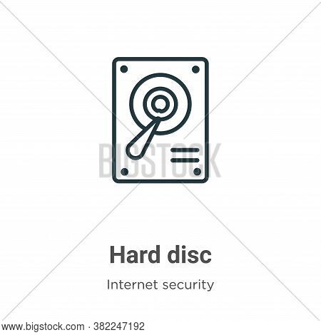 Hard disc icon isolated on white background from networking collection. Hard disc icon trendy and mo