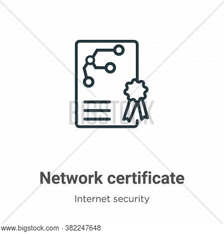 Network certificate icon isolated on white background from networking collection. Network certificat