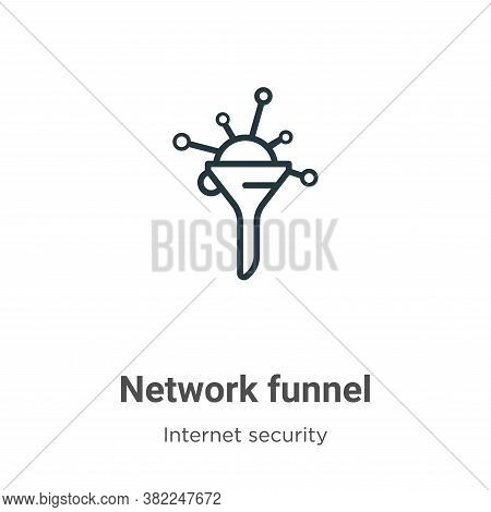 Network funnel icon isolated on white background from networking collection. Network funnel icon tre