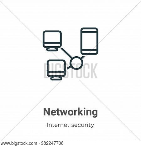Networking icon isolated on white background from internet security collection. Networking icon tren