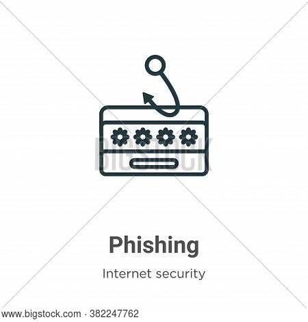 Phishing icon isolated on white background from internet security collection. Phishing icon trendy a