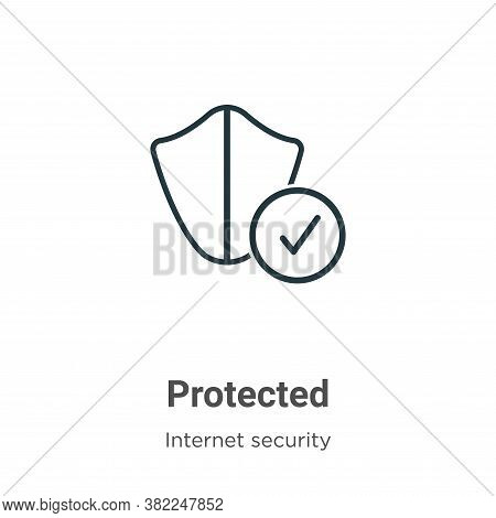 Protected icon isolated on white background from internet security collection. Protected icon trendy