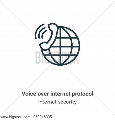 Voice over internet protocol icon isolated on white background from networking collection. Voice ove