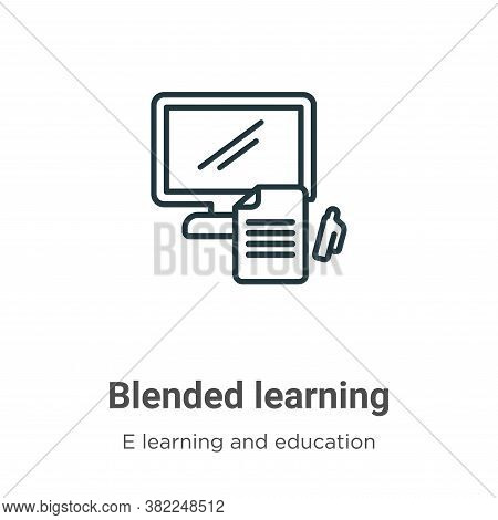 Blended learning icon isolated on white background from e learning and education collection. Blended