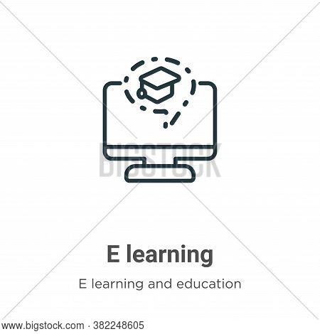 E learning icon isolated on white background from e learning and education collection. E learning ic