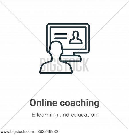 Online coaching icon isolated on white background from e learning and education collection. Online c